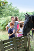 Parents and children petting horses in countryside — Stock Photo