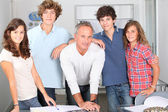 Closeup of students with teacher — Stock Photo