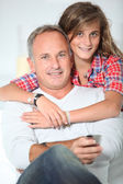 Closeup of father and daughter at home — Stock Photo
