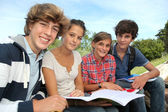 Group of teenagers studying outside the class — Stock Photo