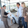 Car seller with couple in car dealership — Stock Photo #18270467