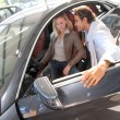 Stock Photo: Couple looking inside new car