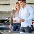 Stock Photo: Couple reading car documentation in showroom