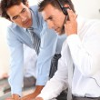 Business working in call center — Stock Photo