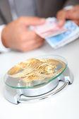 Gold against cash money — Stock Photo