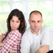 Young couple being mad at each other — Stock Photo