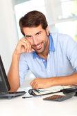 Portrait of happy office worker — Stock Photo