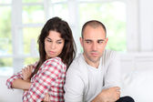 Young couple being mad at each other — Foto Stock