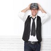 Trendy guy wearing black and white — Stock Photo