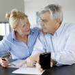 Stock Photo: Senior couple calculting bills amount using smartphone