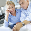 Senior couple inquiring bank website for help — Lizenzfreies Foto