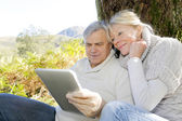 Senior couple using tablet in forest — Stock Photo