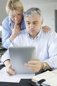 Senior couple trying to figure out tax declaration — Stock Photo