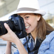 Photographer capturing photo with professional camera — Stock Photo #26971539