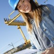 Woman engineer on building site using tablet — Stock Photo #26971547