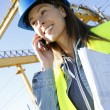 Construction manager talking on mobile phone  — Stock Photo