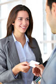 Business exchanging business card — Stock Photo