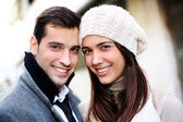 Portrait of trendy couple in town — Stock Photo