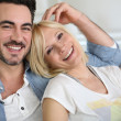 Stock Photo: Cheerful couple having fun together