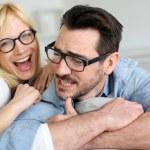 Middle-aged couple wearing eyeglasses — Stock Photo
