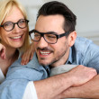Middle-aged couple wearing eyeglasses — Stock Photo
