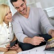 Couple working on home remodellng — Stock Photo