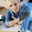 Woman doing home improvement — Stock Photo
