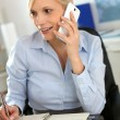 Stock Photo: Businesswoman on the phone taking note on agenda