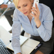 Businesswoman on the phone writing on agenda — Stock Photo #27878497