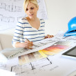 Woman architect working in office — Stock Photo