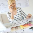 Woman architect on the phone — Stock Photo