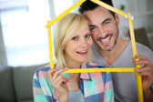 New happy property owners — Stock Photo