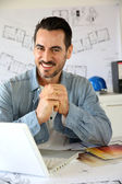Portrait of architect working on project — Stock Photo