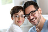 Portrait of young boy with daddy with eyeglasses on — Stock Photo