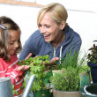 Mother and daughter in garden planting aromatic flowers — Stock Photo