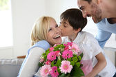 Young boy with father celebrating mother's day — Stock Photo