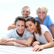 Portrait of cheerful family on vacation in Caribe — Stock Photo