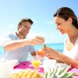 Couple enjoying breakfast in resort — Stock Photo