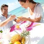 Couple enjoying breakfast in resort — Stock Photo
