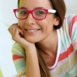 Funny girl with pink eyeglasses — Stock Photo