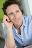 Portrait of handsome guy with blue shirt — Stock Photo