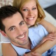 Portrait of cheerful in love couple at home — Stock Photo