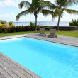 Private swimming pool in tropical area — Stock Photo