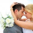 Just married couple sharing romantic moment — Stock Photo #27923045