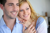 Cheerful in love couple at home — Stock Photo