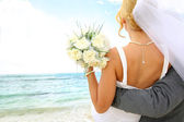 Just married couple looking towards the future — Stock Photo