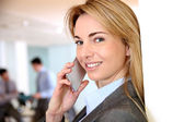 Portrait of businesswoman talking on mobile phone — Stock Photo