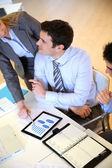 Upper view of business team in work meeting — Stock Photo