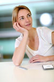 Office-worker with thoughtful look — Stock Photo