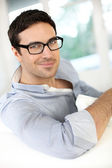 Handsome guy with eyeglasses on — Stock Photo